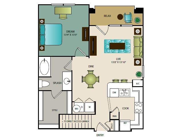 769 sq. ft. A2G floor plan