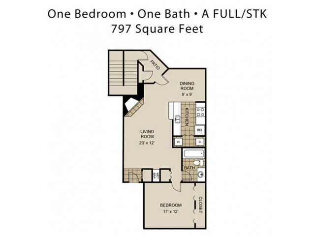 797 sq. ft. A4-A floor plan