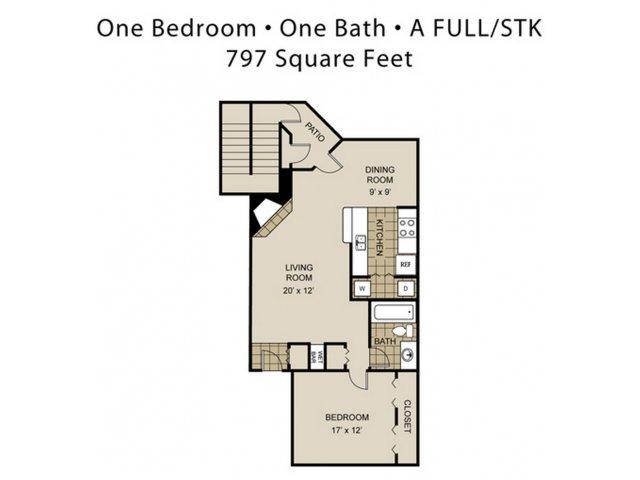 797 sq. ft. A4-A floor plan