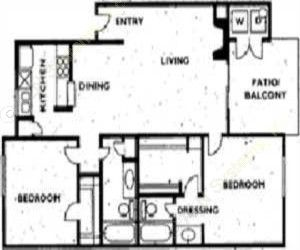 928 sq. ft. 2B2W floor plan