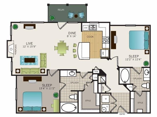 1,172 sq. ft. B2 floor plan