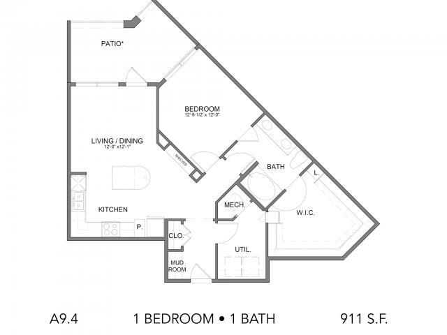 911 sq. ft. A9.4 floor plan