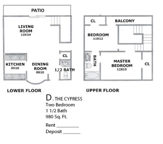 980 sq. ft. Cypress floor plan