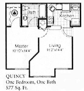 577 sq. ft. A floor plan