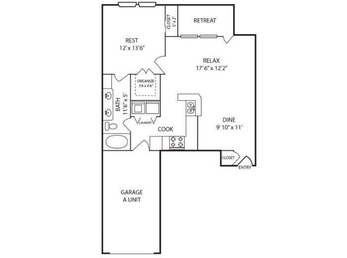 804 sq. ft. A floor plan