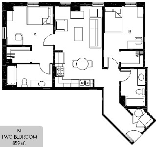 859 sq. ft. B1 floor plan