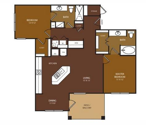 1,110 sq. ft. Chandler floor plan