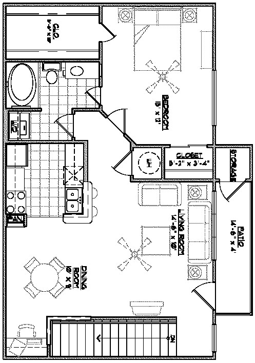 962 sq. ft. D1 floor plan