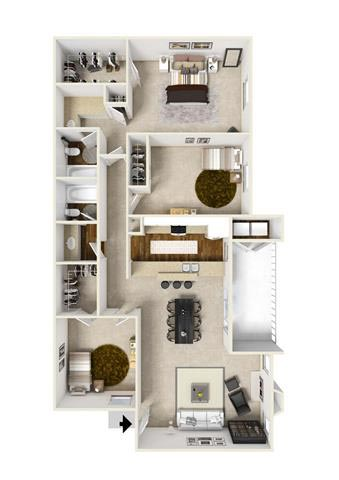 1,200 sq. ft. E2 floor plan