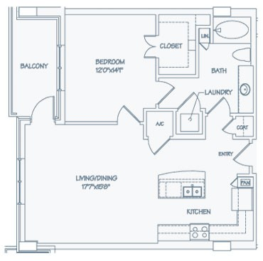 908 sq. ft. A11 floor plan