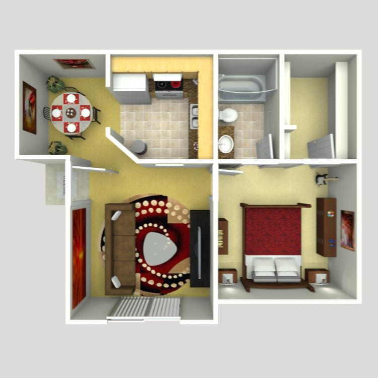 518 sq. ft. AJ-1 floor plan