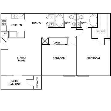 1,000 sq. ft. Red Oak floor plan