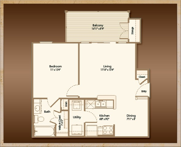646 sq. ft. A1B floor plan