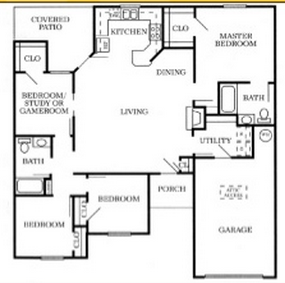 1,405 sq. ft. 60% floor plan