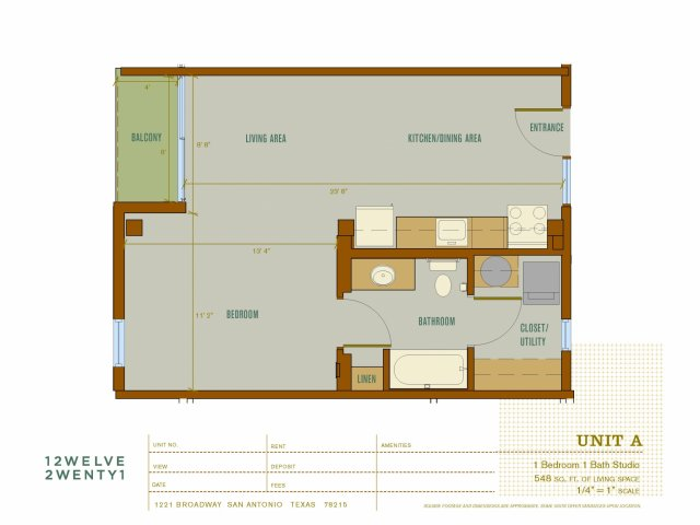 548 sq. ft. A floor plan