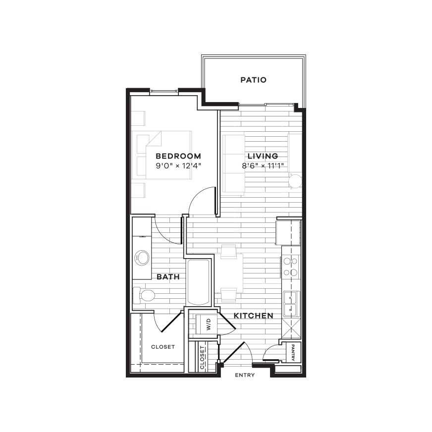 539 sq. ft. E3W floor plan
