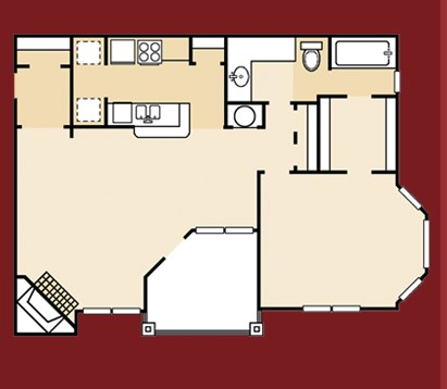 802 sq. ft. A6SQ floor plan