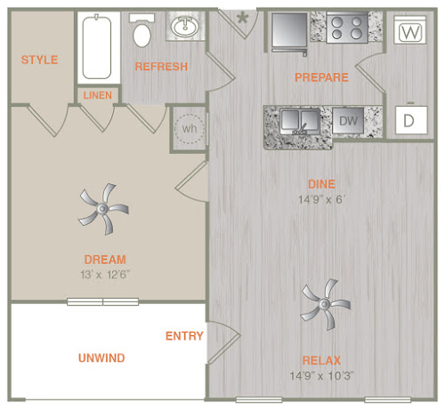 667 sq. ft. A1L floor plan