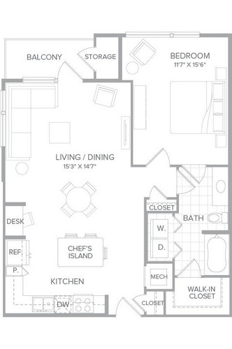 906 sq. ft. A3H floor plan