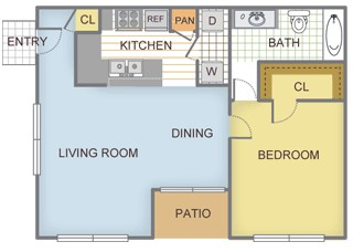 728 sq. ft. Magnolia floor plan