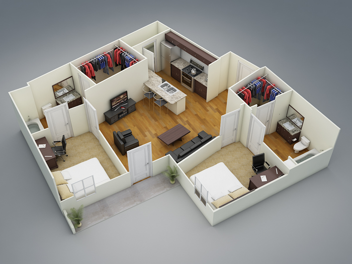 945 sq. ft. B3 floor plan