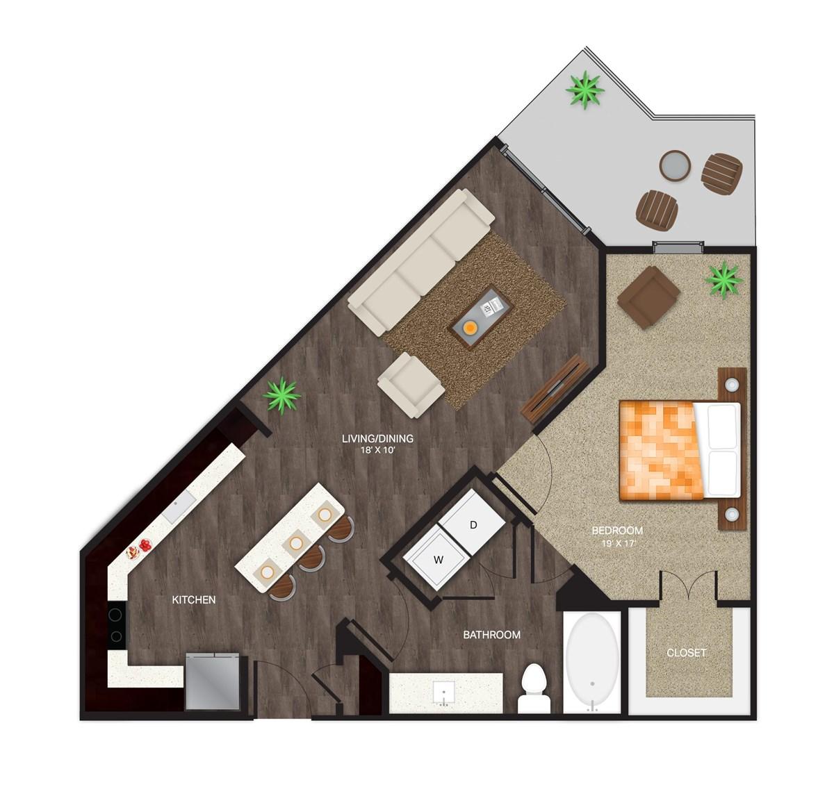 768 sq. ft. A-6 floor plan