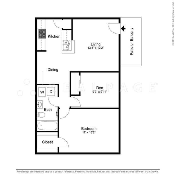 804 sq. ft. Kimberley floor plan
