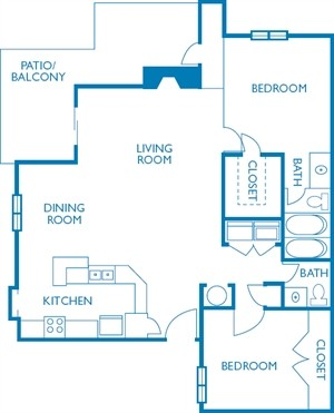 1,122 sq. ft. Presidential floor plan