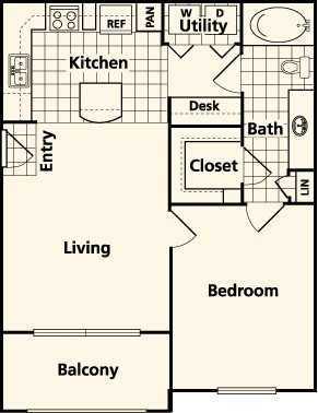 684 sq. ft. A floor plan