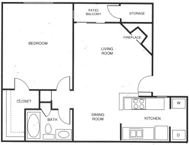 699 sq. ft. D floor plan