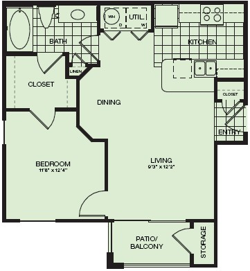 639 sq. ft. Montreaux floor plan