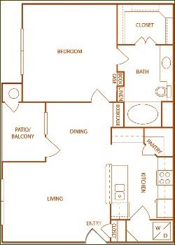 737 sq. ft. A1-Orchard floor plan