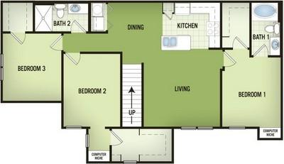 1,354 sq. ft. C1-2 floor plan
