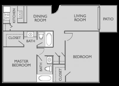 901 sq. ft. B1 floor plan