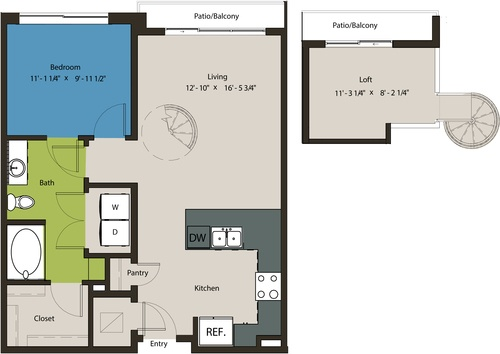 848 sq. ft. A8C-L1 floor plan