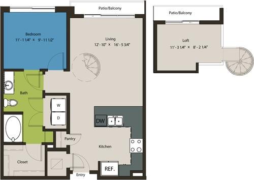 848 sq. ft. A8C-L1 floor plan