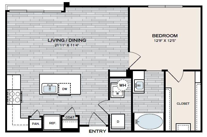771 sq. ft. A2 floor plan