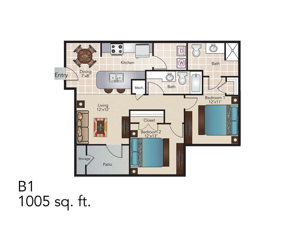 1,005 sq. ft. B1 floor plan