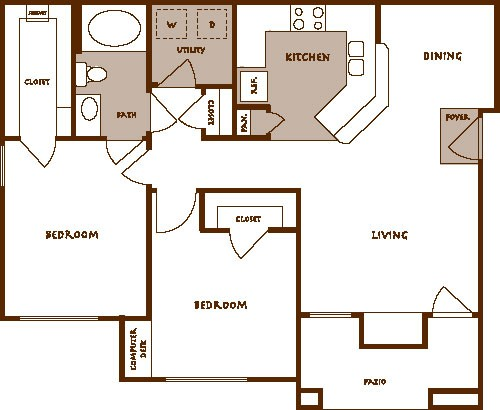 925 sq. ft. Bella B1 floor plan