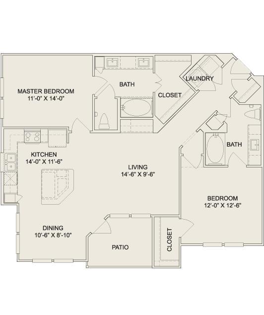 1,205 sq. ft. B4 floor plan