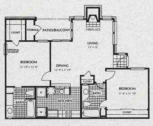 922 sq. ft. B1 floor plan