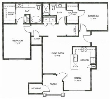 1,211 sq. ft. B1u floor plan