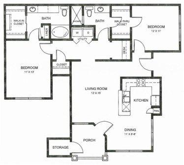 1,211 sq. ft. B1u floor plan