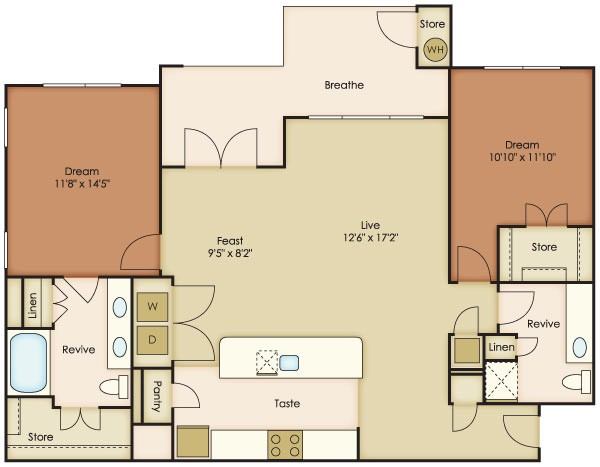 1,239 sq. ft. Arbol floor plan