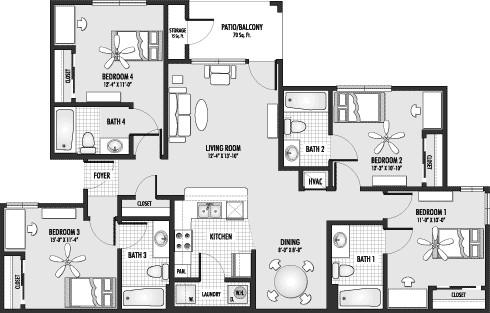 1,442 sq. ft. D1 floor plan