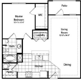 859 sq. ft. floor plan