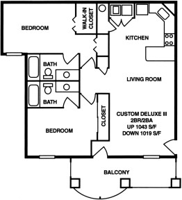 1,043 sq. ft. B floor plan