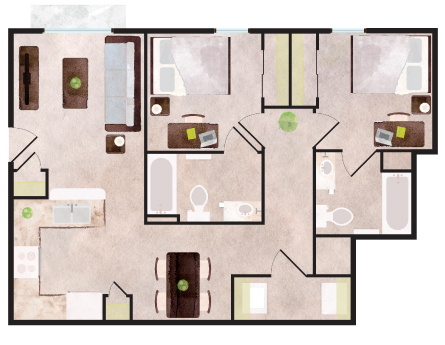 816 sq. ft. Keystone floor plan