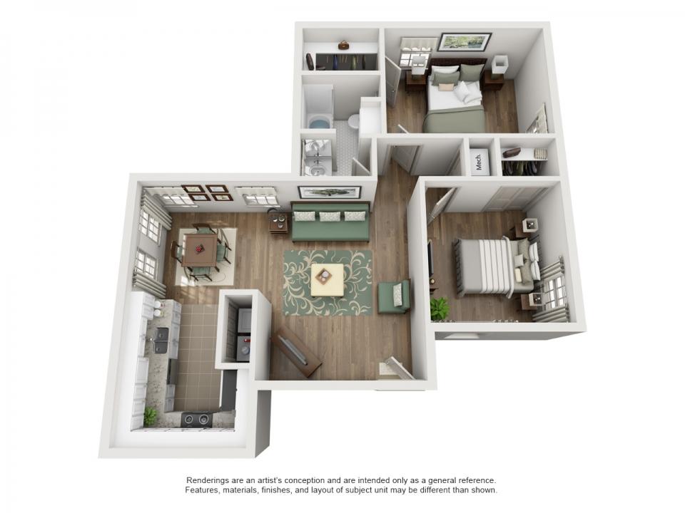 925 sq. ft. B floor plan