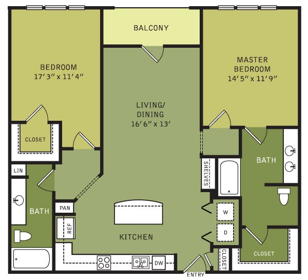 1,231 sq. ft. B2 (II) floor plan